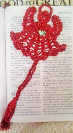 Metallic Red Angel Hand Crocheted bookmark