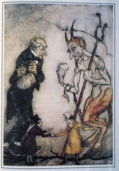 """Arthur Rackham's Christmas Carol 11    """"Quiet and dark, beside him stood the phantom, with its outstretched hand..."""""""