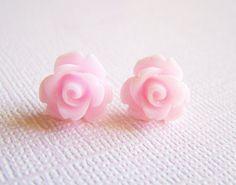 Pastel Pink Rose Earrings