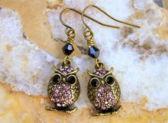 Owl Earrings Crystal Owls Rhinestone Owls Brass by CreativeCutes