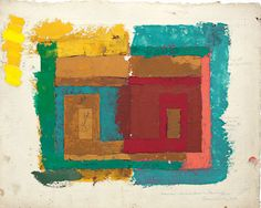 """Josef Albers, """"Study for a Variant / Adobe (I)"""" (ca. 1947). Oil on blotting paper with pencil, 24.1 x 30.6 cm."""