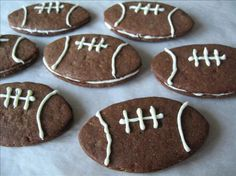 "Fabulous Filbert Football Cookies Aka Super Bowl Cookies from Food.com:   								You guests won't fumble when you ""pass"" them these delicious cookies! Dig out your football shaped cookie cutter and remember ""Laces out!"".  We did tutorials a while back, and this recipe was one of the mini tutorials.  http://www.recipezaar.com/bb/viewtopic.zsp?t=226633"