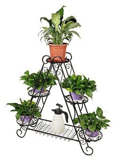 Frame-Plant-Stand-3-tier-Triangular-Six-Potted-Garden-and-Home-Decor-Pot-New