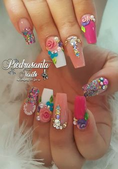 In search for some nail designs and some ideas for your nails? Here is our listing of must-try coffin acrylic nails for trendy women. Fancy Nails, Bling Nails, Cute Nails, Pretty Nails, Rhinestone Nails, 3d Nail Designs, Pretty Nail Designs, Acrylic Nail Designs, Unicorn Nails Designs