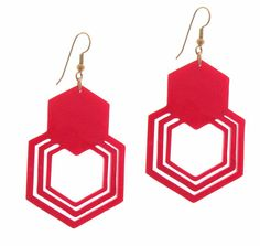 Baronyka Geometric Hexagon Earrings (Acrylic Laser Cut Earrings)  These pair of earrings features set of red Geometric Hexagon on silver plated over brass ( nickel and lead free) earwires.  Total Length is approx 2.9 inches (7.5 mm) from the top of the ear wire.  These earrings are lightweight yet substantial.  All of my jewelry comes with a gift box.  $28.9