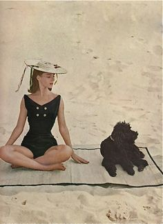 Lady and Poodle at the Beach, Harper's Junior Bazaar, 1956