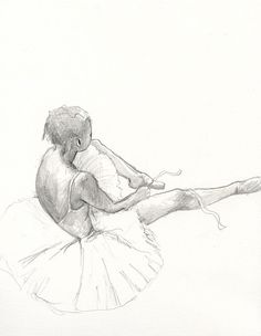 Ballerina 5 - Original Pencil Drawing Classical signed - 8x10 inch - by Evelyn