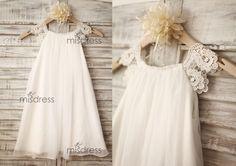Chiffon Lace Flower girl dress/Cap Sleeves Boho Beach Girl Dress/Junior Bridesmaid Dress for Wedding by misdress on Etsy https://www.etsy.com/listing/197387468/chiffon-lace-flower-girl-dresscap