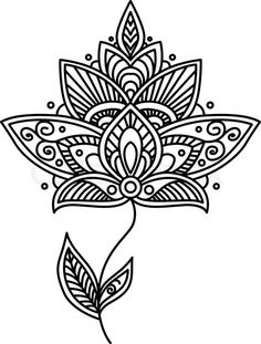 Stock vector of 'Ornate delicate vintage style black and white persian floral design element with a large flower head and small leaves'