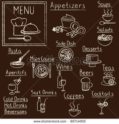 stock vector : Hand drawn restaurant menu design elements on blackboard