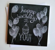 Chalkboard Birthday Card - Chalkboard Art - Chalk Art - Happy Birthday to You - Unique Birthday Card - Hand Drawn Birthday Card