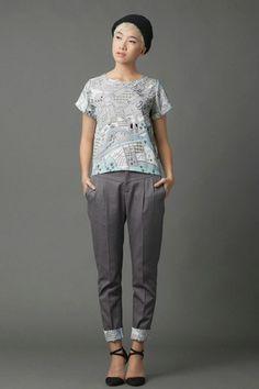 Linda Mai Phung and the Map Blouse. Fall Winter, Autumn, Fashion Labels, Parachute Pants, Harem Pants, Capri Pants, Silk, Blouse, Womens Fashion