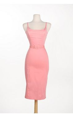 Pinup Couture - Jayne 1960s Sheath Wiggle dress in Pastel Pink Sateen | Pinup Girl Clothing