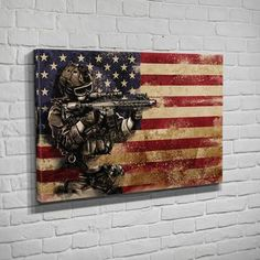 This powerful piece honors the courageous men and women who fight for our freedom. Declare your support and patriotism with this stretched canvas that will stand out in any room. Military Salute, Military Art, Holding Hands Drawing, Army Crafts, Police Officer Gifts, American Flag Wood, Man Cave Art, Flag Painting, Eagle Art