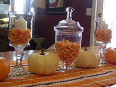 Decoration Contemporary Candy Capsule Halloween Glass Jars Orange Dining Table Ideas Having Candy Capsule Halloween In Lovely Glass Jars, Or...