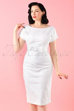 50s Talulah Embroidered Pencil Dress in Ivory