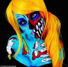 The makeup fanatic uses bright colours to create her pop-art zombie complete with orange w...