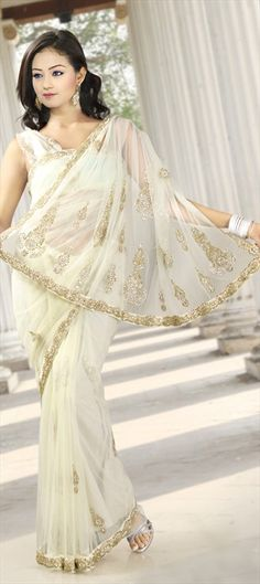 77341, Party Wear Sarees, Embroidered Sarees, Bridal Wedding Sarees, Net, Stone, White and Off White Color Family