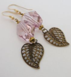 Swarovski Crystal Filigree Leaf Charm Earrings by MagnoliaStudio, $28.00