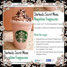 Starbucks secret recipes! #starbucks #frappacino #coffee Starbucks Smoothie, Starbucks Secret Menu Drinks, Starbucks Frappuccino, Starbucks Recipes, Smoothie Drinks, Smoothie Recipes, Smoothies, Frosty Recipe, Chocolate Chip Recipes