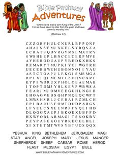 The birth of Yeshua (Jesus) Word Search puzzle.