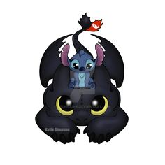 Can I sit here 2 by Redhead-K on DeviantArt Cute Disney Wallpaper, Cute Cartoon Wallpapers, Wallpaper Iphone Cute, Cute Toothless, Toothless And Stitch, Lilo E Stitch, Cute Stitch, Stitch Drawing, Cat Drawing