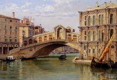 Antonietta Brandeis - The Rialto Bridge - Oil on Board
