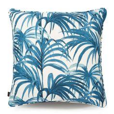 PALMERAL Large Linen Cushion White / Azure