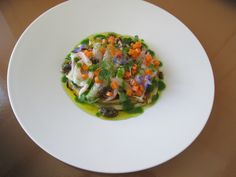Melenzane  grigliate con Orata e  gamberetti  marinati  al limone ,erbette aromatiche / Gino D'Aquino