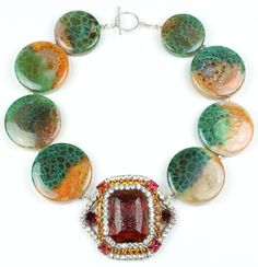 Statement Kette, Statement Necklace, Handmade, Fire Agate, Vintage Brooch - Clap And Cheer - Bertha Louise