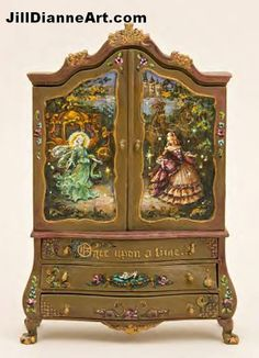 Alice in Wonderland Hand-painting/ original Jill Dianne Art on wooden cupboard. Customized Layaway Plan Does not include Painted Tapestry Humpty Hand Painted Furniture, Funky Furniture, Doll Furniture, Dollhouse Furniture, Antique Furniture, Castle Dollhouse, Dollhouse Miniatures, Jewelry Box Makeover, Wooden Cupboard