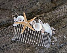 Mermaid hair accessories, Seashell comb, beach wedding, bridal headpiece, Beach jewelry, wedding hair accessories, seashell jewelry by seanatural on Etsy https://www.etsy.com/listing/183493369/mermaid-hair-accessories-seashell-comb