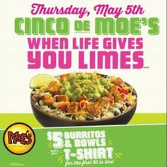 @moessouthwestgrill has an incredible deal today! Read the flyer! Located at 1765 S Hwy 27 in Carrollton