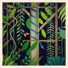 Illustration by Marc Martin Marc Martin, Abstract Trees, Children's Literature, Jungle Animals, Art Inspo, Canopy, Countryside, Illustrators, Garden Design