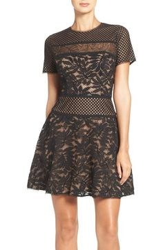 BCBGMAXAZRIA Lace Knit Fit & Flare Dress available at #Nordstrom