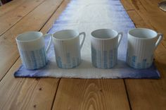 Hand-Painted Cups / Set of 4 Espresso Cups / Blue Watercolor Line Pattern on Ceramic Coffee Mug / White Kitchen Home Decor by 7thStreetHaven on Etsy
