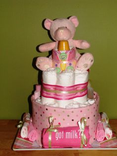 diaper cakes for girls | Baby Shower Ideas