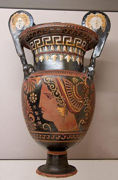 The Greek manner of drinking wine was to dilute it with water (ratio three parts water and one part wine) in a large vessel called krater.  Apulian red-figured volute-krater, ca. 330–320 BC