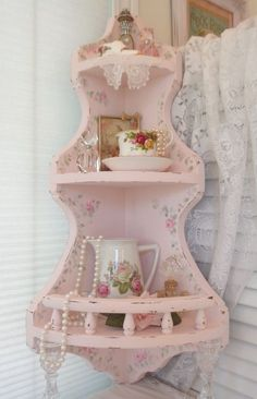 HUGE CORNER WALL SHELF hp roses chic shabby vintage cottage hand painted pink  #VINTAGEwithRAILS #COTTAGECHIC