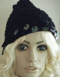 a97cc460fff VINTAGE 50 S-60 S BLACK KNITTED ELF STYLE PEAKED CAP BIG SPANGLE DETAIL   fashion