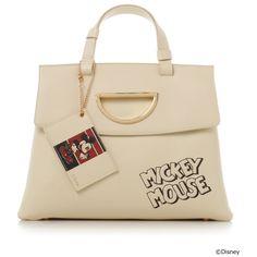 Samantha Thavasa Mickey Mouse Handbag Bag Violet D Leather Off White Disney Collection Christmas 2017