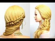 Hairstyle for long hair: dutch crown braid with a french mermaid hair - YouTube