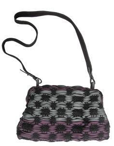 Mondo shoulder bag in handwoven fabric primitivo bicolor burgundy and grey.