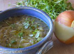 Løksuppe med timian Soup, Vegetarian, Soups