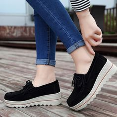 Oct 2019 - Women shoes 2019 fashion loafers slip-on round toe solid casual platform shoes female genuine leather flat shoes woman sneakers Outfit Accessories From Touchy Style. Women's Shoes, Flat Shoes Outfit, Platform Shoes, Casual Shoes, Women's Casual, Loafers Outfit, Casual Loafers, Shoes Sneakers, Sneaker Outfits Women