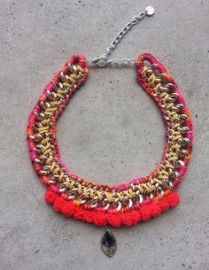 Red necklace pom pom jewelry tribal necklace by JewelryLanChe