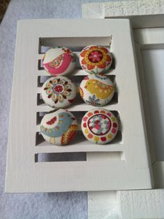 Birds and Flowers Fabric Covered Button Magnets - Set of 6
