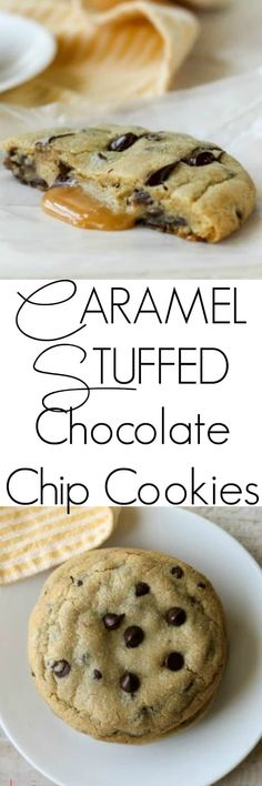 These Caramel Stuffed Chocolate Chip Cookies are jumbo chocolate chip cookie stuffed with ooey-gooey delicious caramel. Grab a jumbo glass of milk and your cookie and get ready to indulge! #caramel #chocolatechipcookie
