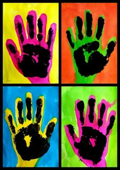 Andy Warhol Pop Art For Kids Projects Ideas Pop Art Pour Les Enfants, Pop Art Andy Warhol, Warhol Paintings, Hand Kunst, Pop Art For Kids, Classe D'art, Kindergarten Art, Hand Art, Art Classroom