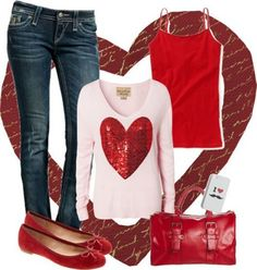 Casual Valentine's Day Outfits Valentine Outfits For Women, Casual Outfits For Girls, Cute Valentines Day Outfits, Red And White Outfits, Birthday Outfit For Women, Girl Outfits, Cute Outfits, Holiday Outfits, Winter Outfits
